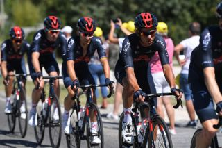 GARD FRANCE SEPTEMBER 03 Andrey Amador Bikkazakova of Costa Rica and Team INEOS Grenadiers Michal Kwiatkowski of Poland and Team INEOS Grenadiers Luke Rowe of The United Kingdom and Team INEOS Grenadiers during the 107th Tour de France 2020 Stage 6 a 191km stage from Le Teil to Mont AigoualGard 1560m TDF2020 LeTour on September 03 2020 in Gard France Photo by Tim de WaeleGetty Images