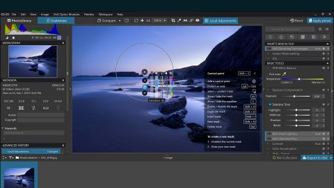 Image shows DxO Photolab 4 being used on an image.