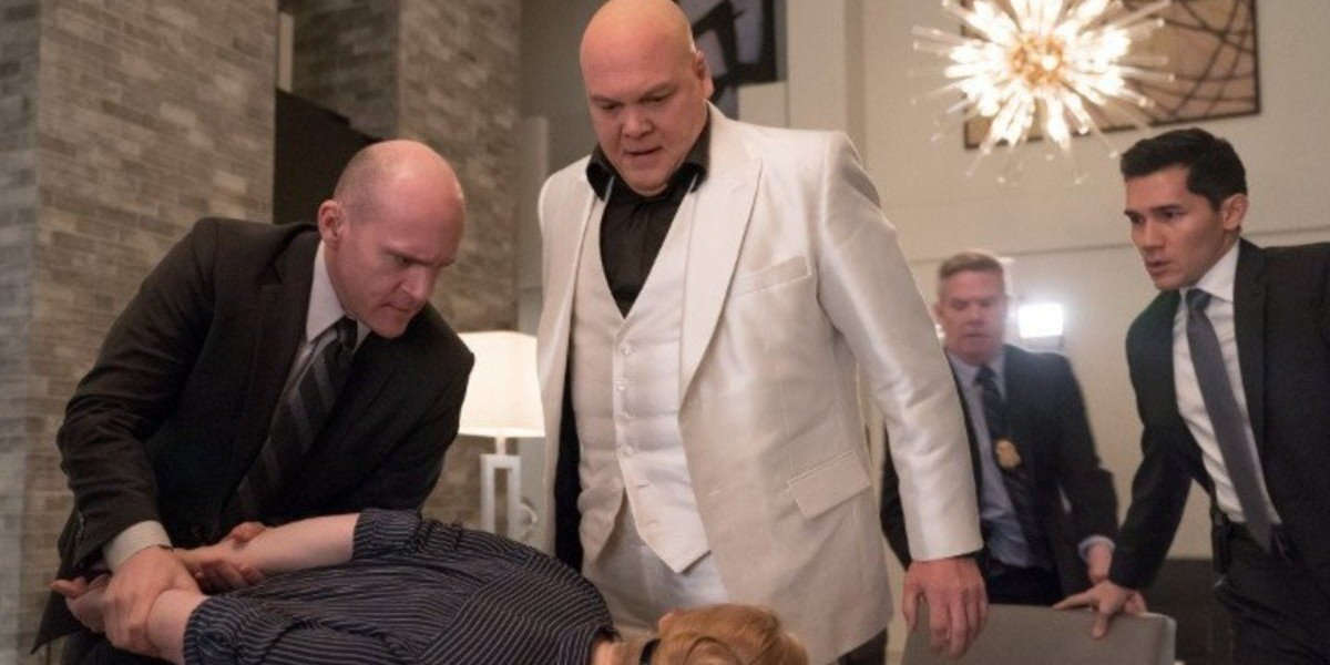 Vincent D'Onofrio as Kingpin in the white