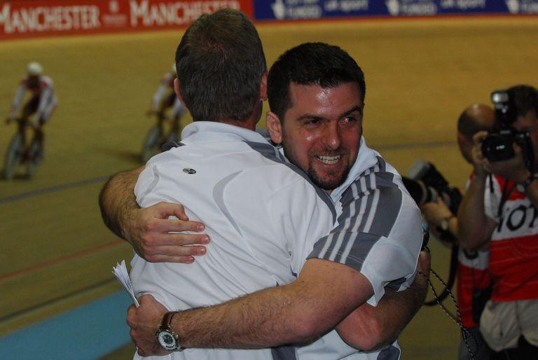 Matt Parker hugs Shane Sutton