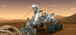 NASA's Mars rover Curiosity fires its mast-mounted ChemCam laser at a rock target in this artist's illustration. The laser has fired more than 100,000 shots on Mars.