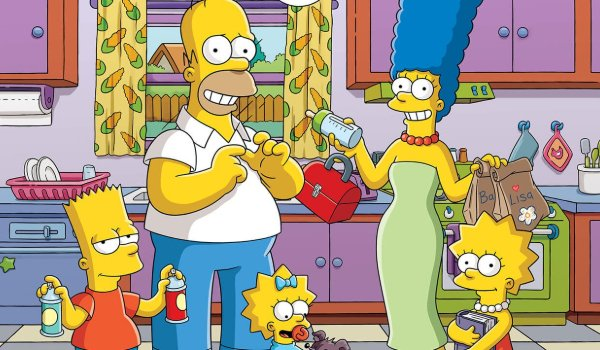 The Simpsons in the kitchen, getting ready for a new day of excitement