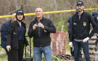 Pictured L-R: Vanessa Ferlito as Special Agent Tammy Gregorio, Scott Bakula as Special Agent Dwayne Pride, and Rob Kerkovich as Forensic Agent Sebastian Lund
