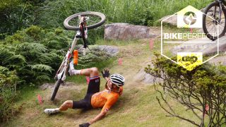 Mathieu van der Poel crashes on the opening lap of the mountain bike race
