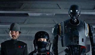 CaCassian, Jyn Erso and K-2SO in Rogue One: A Star Wars Story