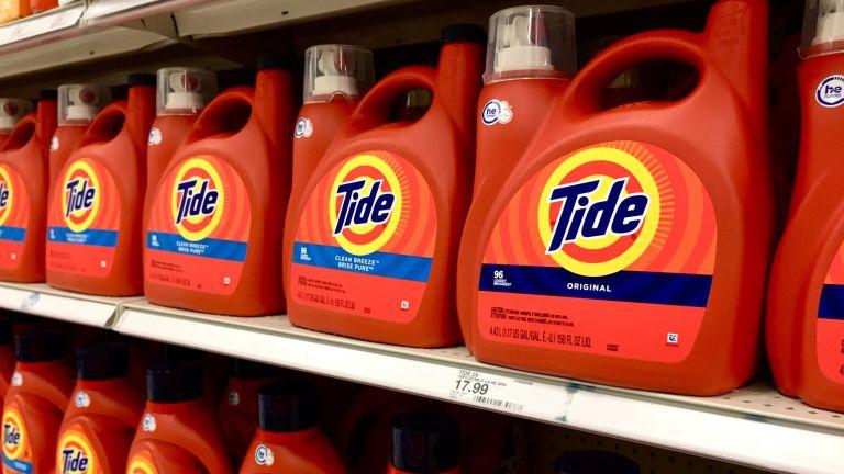 Tide bottles of detergent on a shelf in a store
