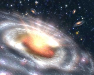 Artist's Illustration of Quasar Releasing Energy