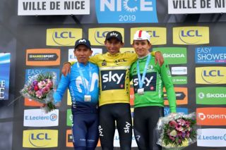The final 2019 podium: Nairo Quintana, Egan Bernal, Michał Kwiatkowski (L-R)
