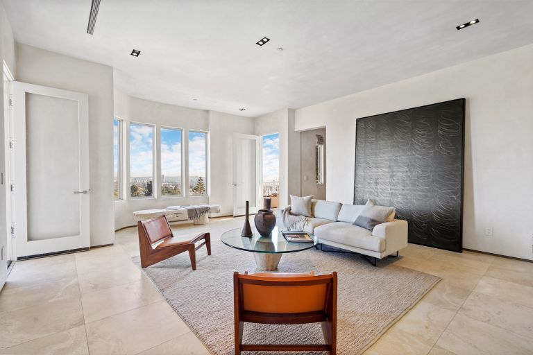 modern rustic living room in LA