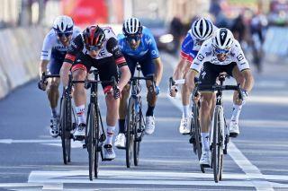 Julian Alaphilippe (Deceuninck-Quickstep R) misses out to Tadej Pogacar (UAE Team EMirates L) in Liège-Bastogne-Liège 2021