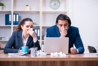 These office workers didn't get the memo that sick people should work from home.