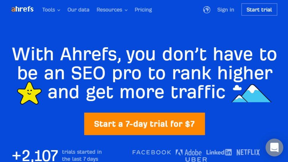 Website screenshot for Ahrefs