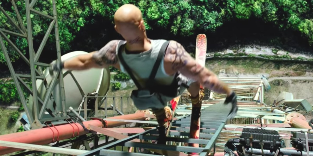 Xander Cage jumps from a tower in xXx: Return Of Xander Cage