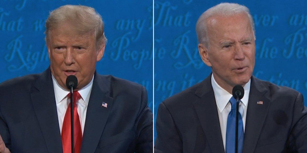 Donald Trump and Joe Biden during the final Presidential debate