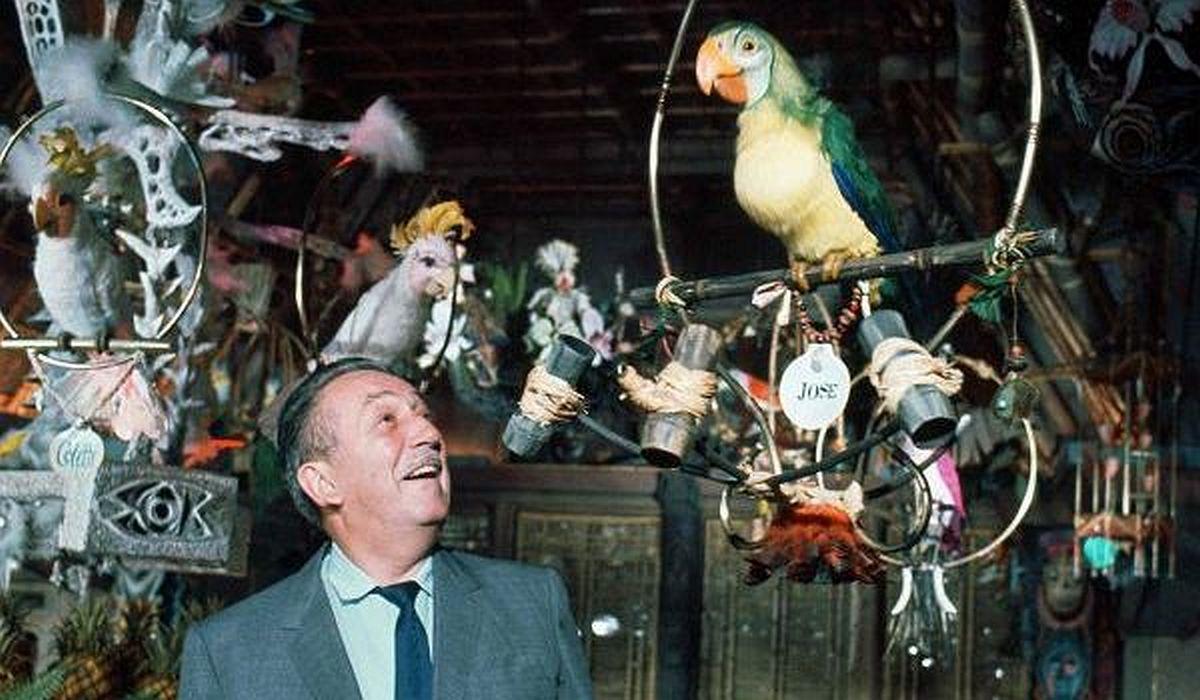 Walt Disney with birds from the Enchanted Tiki Room