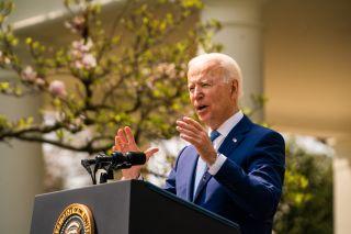 President Joe Biden spoke at the White House's Rose Garden on April 8, 2021.