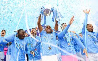 Manchester City 2020/21 Premier League trophy lift
