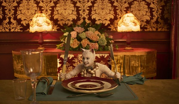 Cats the white cat sitting at the table, with utensils, waiting for food