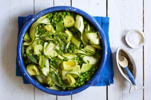 This fresh summer salad of avocado, pea and courgette is so easy to make
