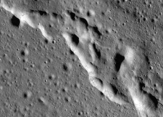 An image of wrinkles in the moon's surface near Mare Frigoris, as seen by NASA's Lunar Reconnaissance Orbiter.