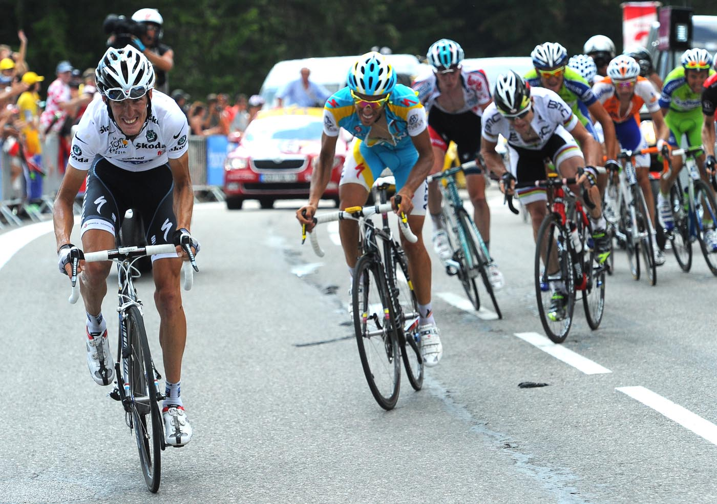 Andy Schleck attacks, Tour de France 2010, stage 8