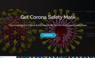 The front (and only) page of the 'coronavirus safety mask' scam site.