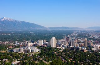 Salt Lake City, Utah, and the surrounding mountains.