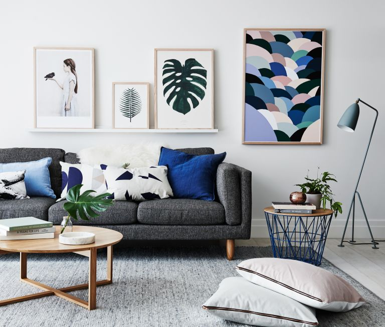 Grey living room with gallery wall