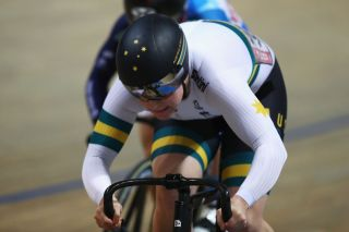 Australian sprinter Steph Morton competes at the 2019 UCI Track World Championships in Pruszkow, Poland