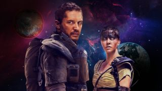 Mad Max and Furiosa in front of a galaxy.