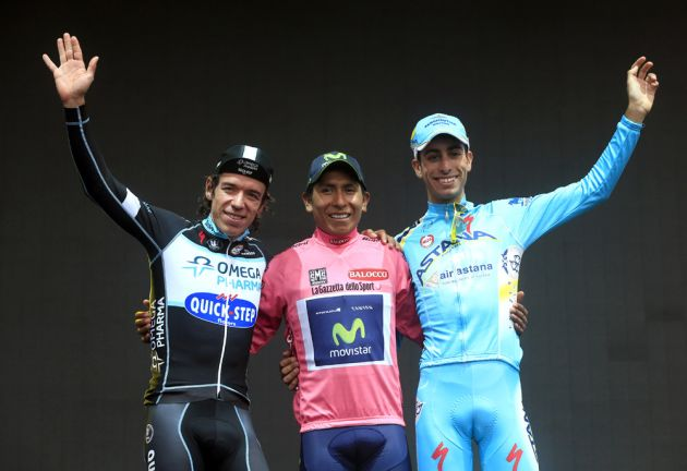 Nairo Quintana with Fabio Aru and Rogoberto Uran on stage twenty-one of the 2014 Giro d'Italia
