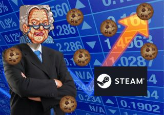 """A version of the """"Stonks"""" meme but with cookies and a grandma in stead of a business suit man. There is a Steam logo."""