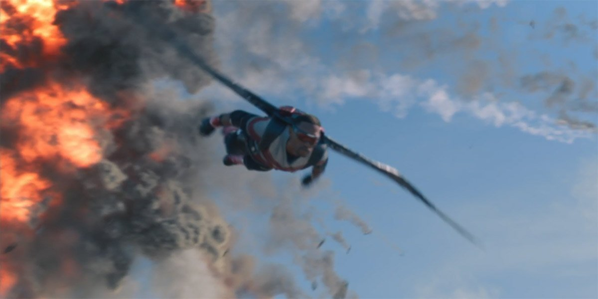 Falcon (Anthony Mackie) flying through the air in The Falcon And The Winter Soldier