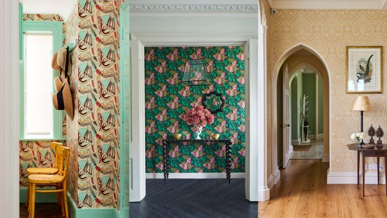 A composite of hallway wallpaper ideas