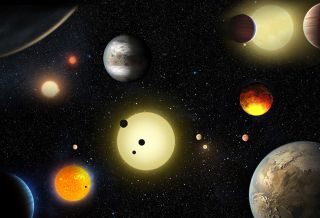 Various Exoplanets and Suns Illustration