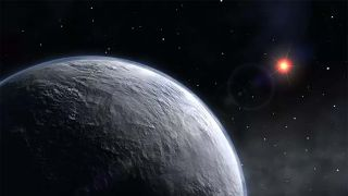 Artist conception of new planet OGLE-2005-BLG-390Lb in orbit around a red dwarf star