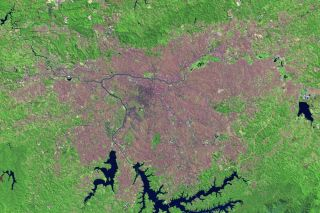 A satellite image taken by Landsat 8 on Sept. 1, 2013, shows the city of Sao Paulo, Brazil.