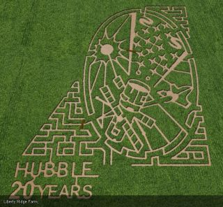 The Liberty Ridge Farm in Schaghticoke, New York showcased the Hubble Space Telescope in a vast corn maze. The maze is one of seven corn mazes across the United States by farms participating in the Space Farm 7 project in 2011.