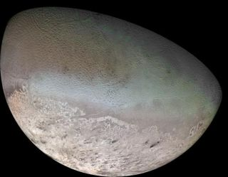 Voyager 2 imaged less than half of the surface of Neptune's moon Triton in 1989.