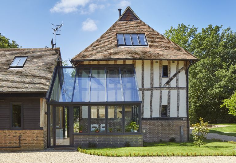 glass box extension in traditional period home