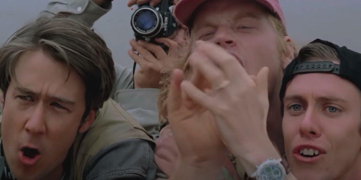 Alan Ruck, Philip Seymour Hoffman, and Sean Whalen in Twister