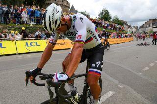 Tour de France 2021 108th Edition 3rd stage Lorient Pontivy 1829 km 28062021 Crash Injury Peter Sagan SVK Bora Hansgrohe Caleb Ewan AUS Lotto Soudal photo Kei TsujiBettiniPhoto2021