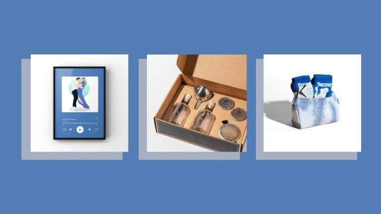 best gifts for couples collage: Gin Making Kit, Spotify Custom Portrait, and Sex Kit