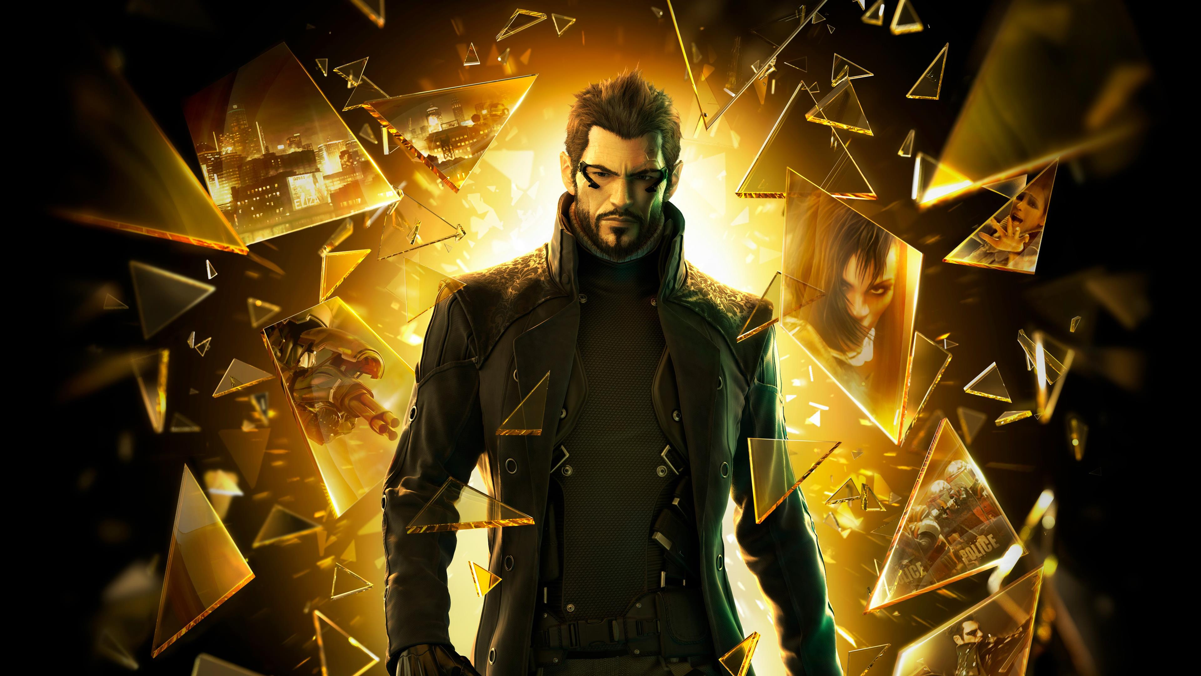 Adam Jensen, backed by a lot of yellow
