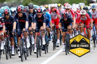 NÎMES, FRANCE - JULY 08: Richard Carapaz of Ecuador, Dylan Van Baarle of The Netherlands, Tao Geoghegan Hart of The United Kingdom, Richie Porte of Australia and Team INEOS Grenadiers & Anthony Perez of France and Team Cofidis during the 108th Tour de France 2021, Stage 12 a 159,4km stage from Saint-Paul-Trois-Chateaux to Nimes / @LeTour / #TDF2021 / on July 08, 2021 in Nîmes, France. (Photo by Michael Steele/Getty Images)