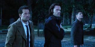 Misha Collins, Jared Padalecki, and Jensen Ackles in Supernatural Season 15