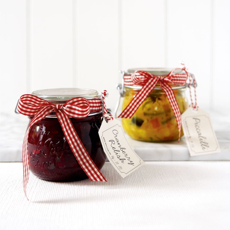 Homemade cranberry relish and chunky picalilli