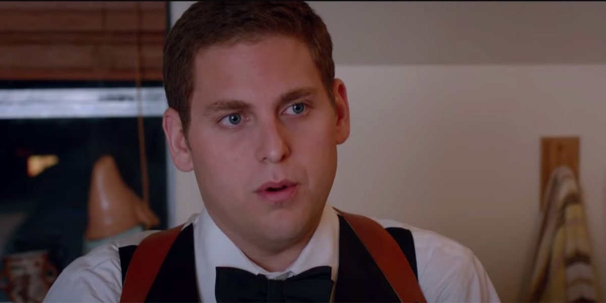 Jonah Hill with a bow tie on.