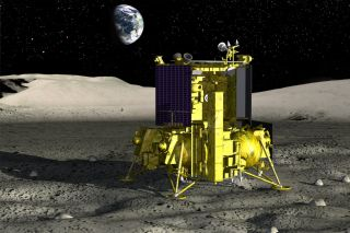 An artist's depiction of a lunar lander in Russia's second-generation Luna program.