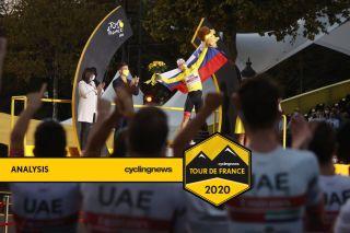 Pogacar yellow podium UAE Team Emirates Tour de France 2020 Paris